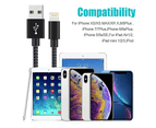 WIWU 4Packs WH iPhone Cable Phone Charger Nylon Braided Cable USB Cord -Navy - 1M+1M+2M+2M+3M 4
