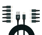 WIWU 10Packs WH iPhone Cable Phone Charger Nylon Braided Cable USB Cord -Navy - 10Packs 1M 1
