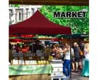 3x3m Pop Up Gazebo Outdoor Tent Folding Marquee Party Camping Market Canopy w/ Side Wall - red 6