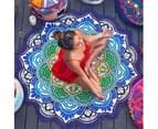 Round Yoga Mat With Tassels Lotus Rainbow Mandala Beach Towel F01 - As picture 1