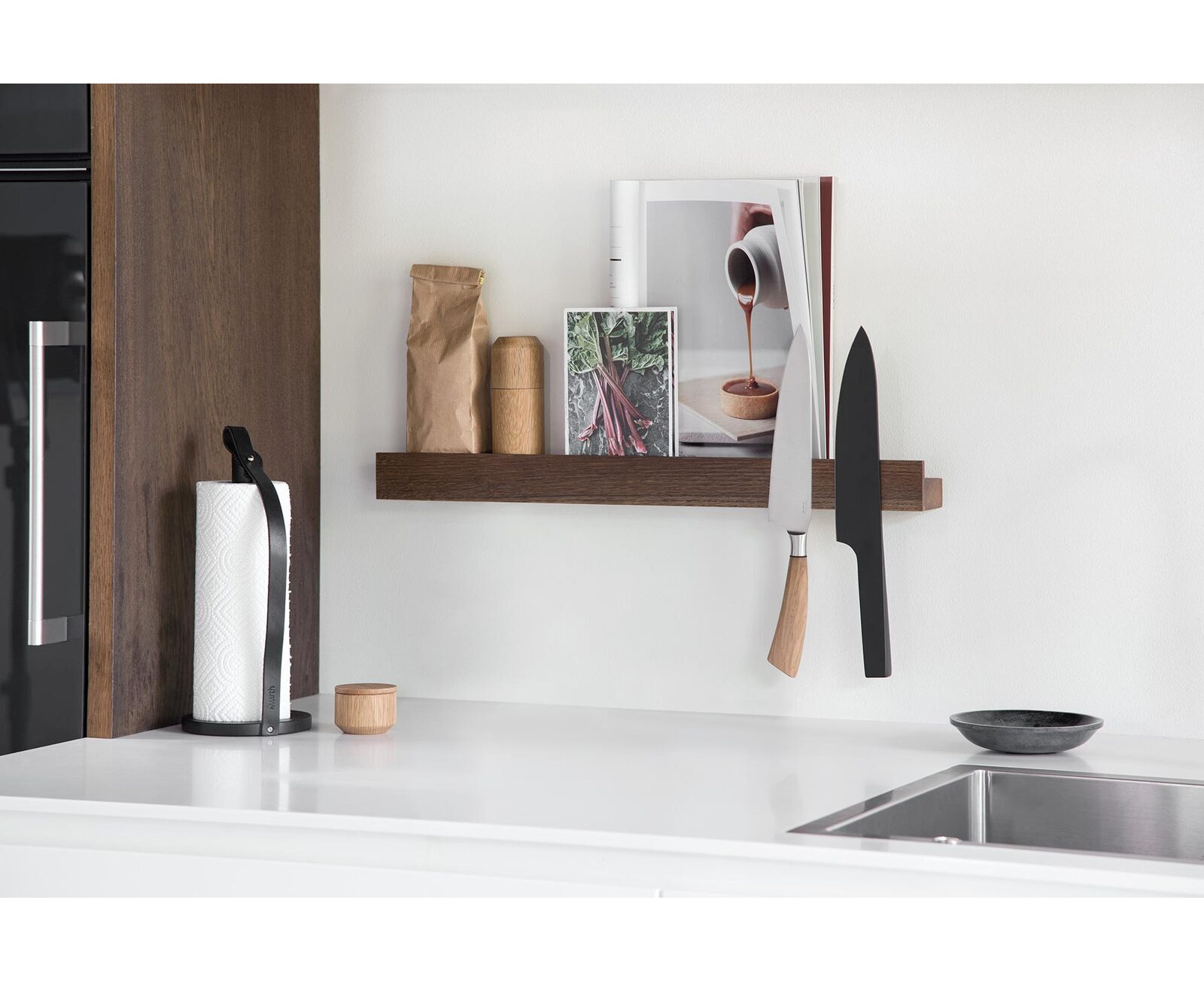by wirth magnetic wall shelf and knife rack in smoked dark oak 60 cm