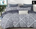 CleverPolly Ashley King Bed Quilt Cover Set - Charcoal/White 1