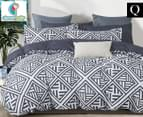 CleverPolly Ashley Queen Bed Quilt Cover Set - Charcoal/White 1