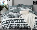 CleverPolly Leo Queen Bed Quilt Cover Set - Green 1