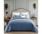 100% Cotton 650TC Sateen Silver Blue Quilt Doona Cover Set 1
