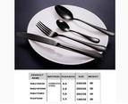32 pcs Stainless Steel Cutlery Set Black Knife Fork Spoon Stylish Teaspoon Kitchen 4