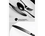 24 pcs Stainless Steel Cutlery Set Black Knife Fork Spoon Stylish Teaspoon Kitchen 6