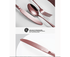 60 pcs Stainless Steel Cutlery Set Rose Gold Knife Fork Spoon Stylish Teaspoon Kitchen 5
