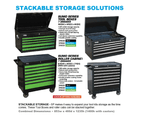 Sp Tool Box Trolley Cabinet 7 Drawers Stackable Storage Sp40127 Black / Green 3