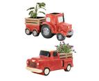 2pce Set of Farm Trucks Tractor Red Pot Planters Ceramic Herb Succulent Combo 1