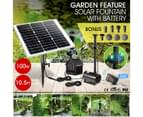 100W Solar Fountain Water Pump with Battery and LED Light for Birdbath Garden Pool 2
