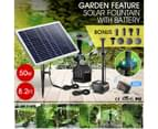 50W Solar Fountain Water Pump with Battery and LED Light for Birdbath Garden Pool 2