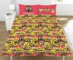 Emoji Sh*t Happens Double Bed Quilt Cover Set - Pink/Brown/Yellow 2