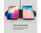 PushStart 10W Dual Qi Wireless Charging Stand for Android/Apple Phones Black 3