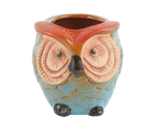 1pce 9cm Aqua Owl Bird Plant Pot Ceramic Gloss Glazed Cute Face for Flowers, Herbs, Succulents 1
