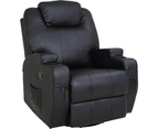 Black Massage Sofa Chair Recliner 360 Degree Swivel PU Leather Lounge 8 Point Heated 1