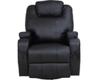 Black Massage Sofa Chair Recliner 360 Degree Swivel PU Leather Lounge 8 Point Heated 6