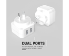 2x USB-A Ports 17W Wall Charger Adapter Plug w/Surge Protect for Apple/Android 2