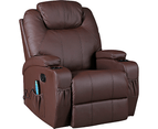 Brown Massage Sofa Chair Recliner 360 Degree Swivel PU Leather Lounge 8 Point Heated 1