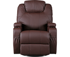 Brown Massage Sofa Chair Recliner 360 Degree Swivel PU Leather Lounge 8 Point Heated 6