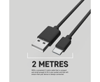 Fast Charge Type-C to USB 2M Cable For Samsung S10/S20/S21/MacBook/Google Pixel 2