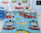 Thomas & Friends Ride On Single Bed Quilt Cover Set - Blue/White 1