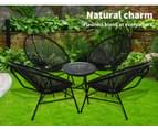 3Pcs Outdoor Furniture Set Garden Patio Chair Table Wicker Setting Chairs Bench 7