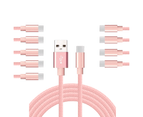WIWU 10Packs USB Type C Cable Nylon Braided Phone Cable iPad Air 4 iPad 8 USB Cord -Pink 1