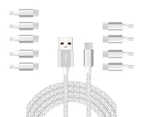 WIWU 10Packs USB Type C Cable Nylon Braided Phone Cable iPad Air 4 iPad 8 USB Cord -Silver 1