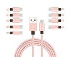 WIWU 10Packs USB Type C Cable Nylon Braided Phone Cable iPad Air 4 iPad 8 USB Cord -Pink White 1