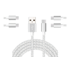 WIWU 5Packs USB Type C Cable Nylon Braided Phone Cable iPad Air 4 iPad 8 USB Cord -Silver 1