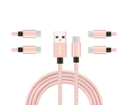 WIWU 5Packs USB Type C Cable Nylon Braided Phone Cable iPad Air 4 iPad 8 USB Cord -Pink White 1