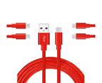 WIWU 5Packs USB Type C Cable Nylon Braided Phone Cable iPad Air 4 iPad 8 USB Cord -Red 1