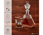 Nou Living Royale 11-Piece Crystal Whisky Decanter Set with 6 Glasses   100% Lead Free 7