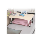 Foldable Bed Tray Laptop Table Stand Tablet Adjustable Portable Tables Study Desk Home - Light Brown 1