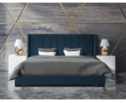 Bed Frame and Mattress Bundle in Super King, King or Queen Size - Mayfair Velvet Blue 1