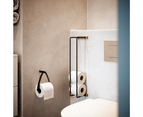 By Wirth Toilet Roll Holder - Black Oak and Black Leather - Wall Mounted 1
