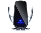 15W Qi Automatic Magnetic Car Wireless Charger USB Infrared Sensor Phone Holder-Black 1