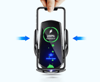 15W Qi Automatic Magnetic Car Wireless Charger USB Infrared Sensor Phone Holder-Black 2