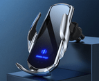 15W Qi Automatic Magnetic Car Wireless Charger USB Infrared Sensor Phone Holder-Black 3