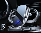 15W Qi Automatic Magnetic Car Wireless Charger USB Infrared Sensor Phone Holder-Black 4