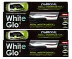 2 x White Glo Total Mouth Detox Charcoal Whitening Toothpaste 150g 1