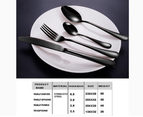 Cutlery Set Black 24 Pcs Stainless Steel Knife Fork Spoon Stylish Teaspoon Kitchen 4