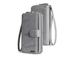 Multi-functional PU leather mobile phone holster wallet phone case for iPhone12 Pro Max-Grey 1