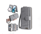 Multi-functional PU leather mobile phone holster wallet phone case for iPhone12 Pro Max-Grey 3
