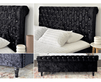 Luxury Venice Crushed Velvet Fabric King Size Bed Frame Crystal Tufted Black Upholstered 9