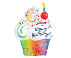 Rainbow Ombre SuperShape Cupcake Happy Birthday Foil Balloon 1