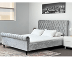 Luxury Venice Crushed Velvet Fabric King Size Bed Frame Fabric Tufted Silver Upholstered 2