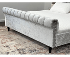 Luxury Venice Crushed Velvet Fabric King Size Bed Frame Fabric Tufted Silver Upholstered 4