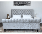 Luxury Venice Crushed Velvet Fabric King Size Bed Frame Fabric Tufted Silver Upholstered 6